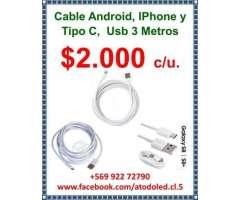 Cable android, iphone y tipo c - Peñalolén
